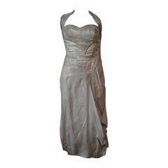 1940s Silver Metal Lame Halter Dress w/ Sarong Draping