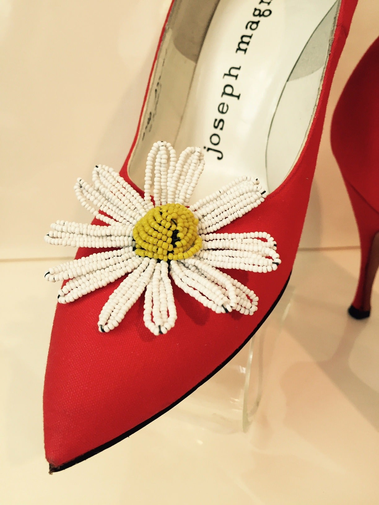 1950s Herbert Levine Orange Crepe Stiletto with Beaded Daisy 5