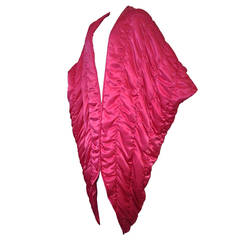 1980s Fuchsia Satin Quilted Cocoon Coat