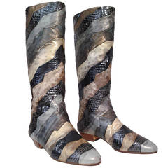 Andrea Pfister Mixed Reptile Skin Patchwork Boots