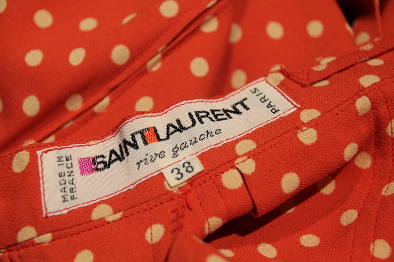 1970s Saint Laurent Box Pleated Orange and White Polka Dot Crepe Skirt In Excellent Condition For Sale In San Francisco, CA