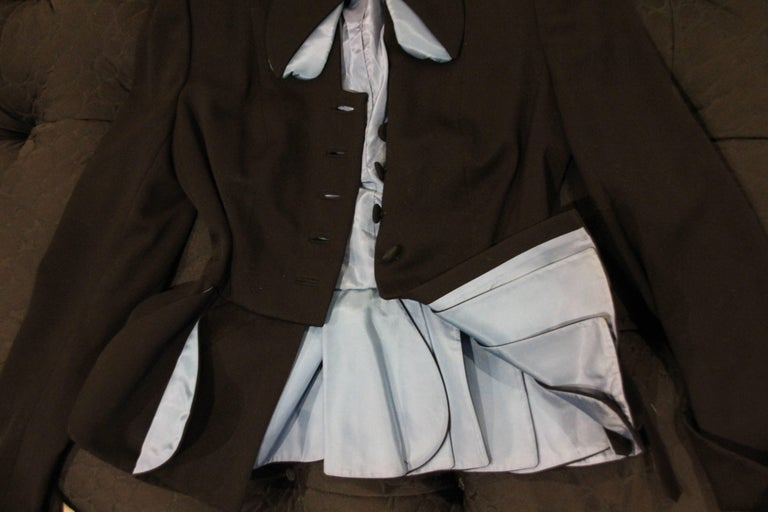 Women's 1950s Lilli Ann Black Gabardine Jacket w Blue Lined