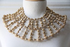 1960s Napier Egyptian-Inspired Gold-Tone and Faux Pearl Wide Beaded Collar