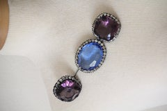 1980s Yves Saint Laurent Faceted Amethyst and Aquamarine Glass Stick Pin