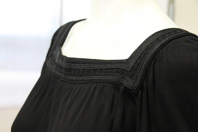 1970s Yves Saint Laurent Black Rayon Jersey Dress Square Moroccan Braid Trim For Sale 4