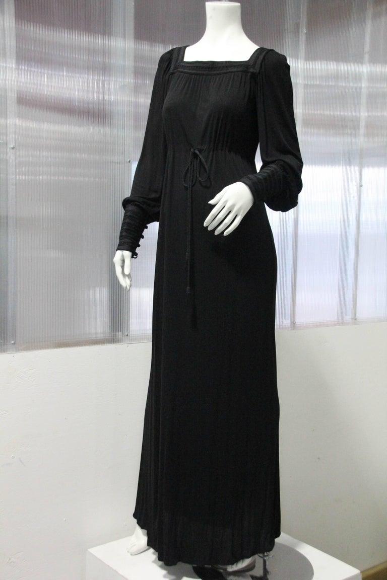 1970s Yves Saint Laurent Black Rayon Jersey Dress Square Moroccan Braid Trim For Sale 1