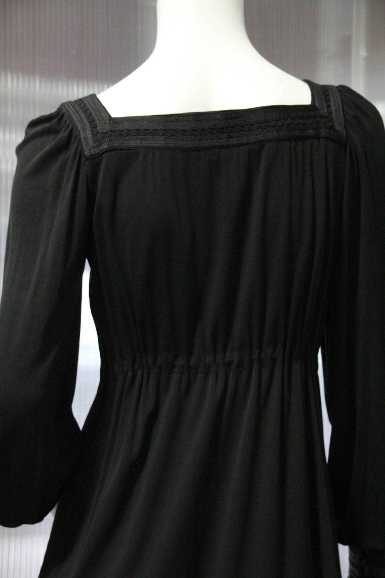 1970s Yves Saint Laurent Black Rayon Jersey Dress Square Moroccan Braid Trim For Sale 3