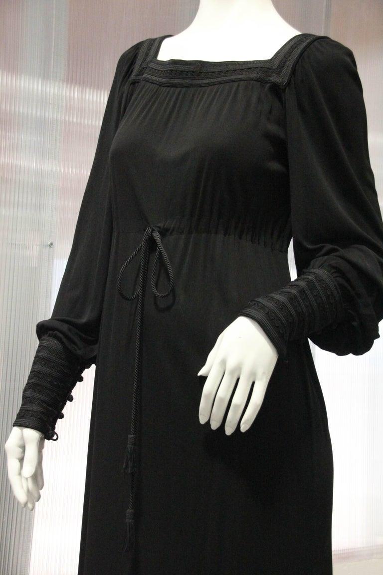 Women's 1970s Yves Saint Laurent Black Rayon Jersey Dress Square Moroccan Braid Trim For Sale