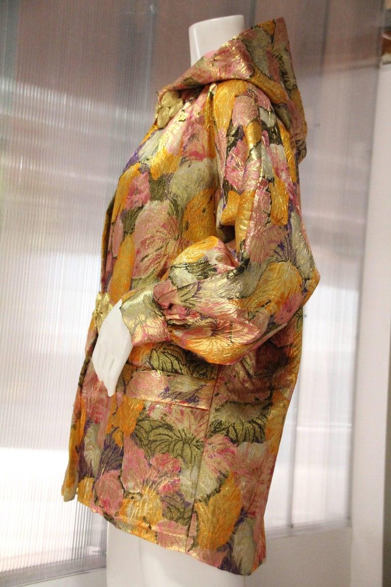 Women's 1980s Fernando Sanchez Gold Brocade Bed Jacket & Pink Silk Lined Hood For Sale