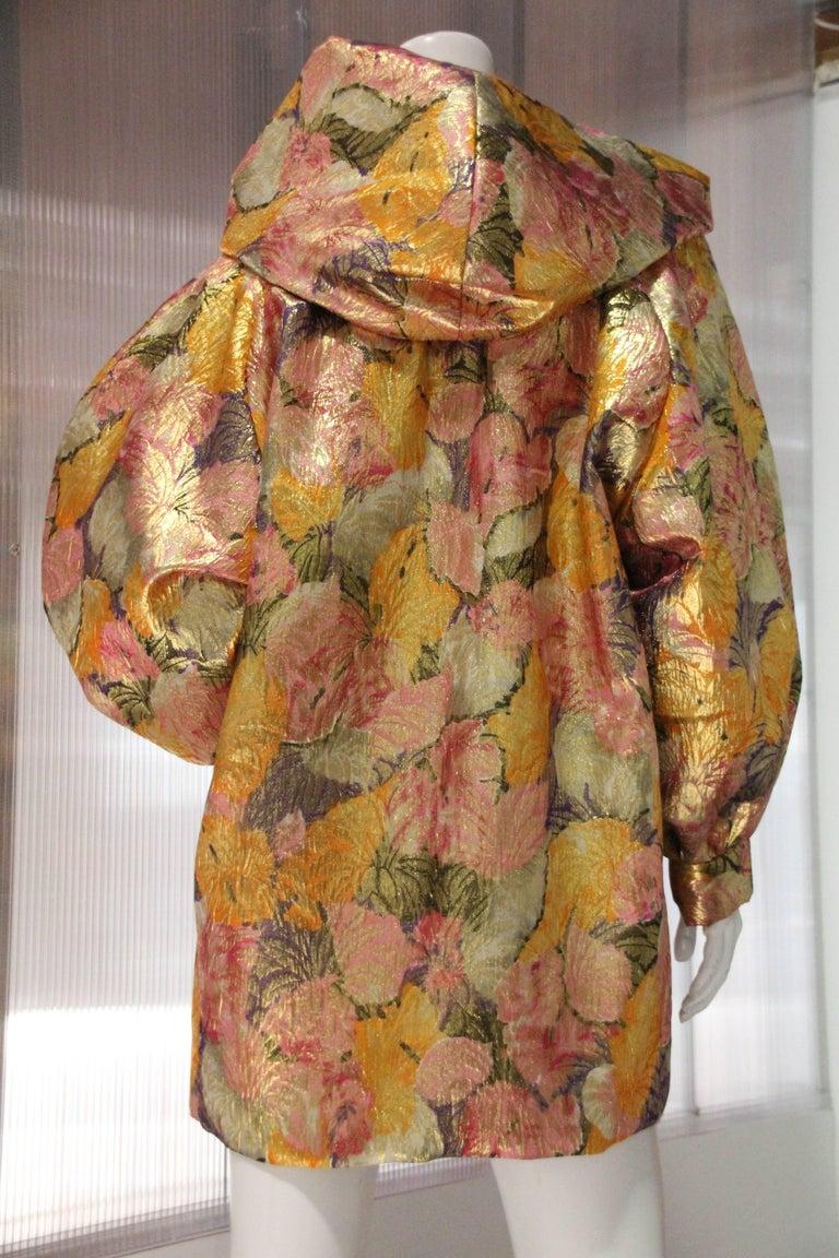 Brown 1980s Fernando Sanchez Gold Brocade Bed Jacket & Pink Silk Lined Hood For Sale