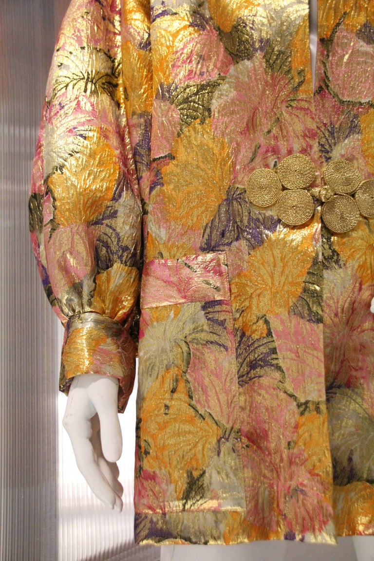 1980s Fernando Sanchez Gold Brocade Bed Jacket & Pink Silk Lined Hood In Excellent Condition For Sale In San Francisco, CA