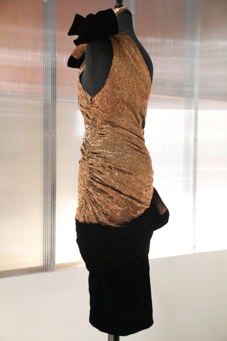 1980s Copper Metallic One Shoulder Cocktail Dress With