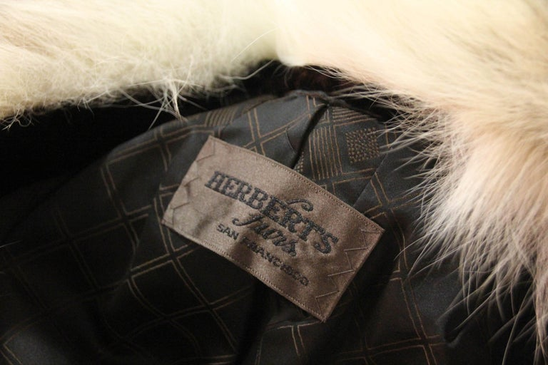 1960s Herbert's Sheared Beaver Coat with Plush Lynx Collar and Trim For Sale 1