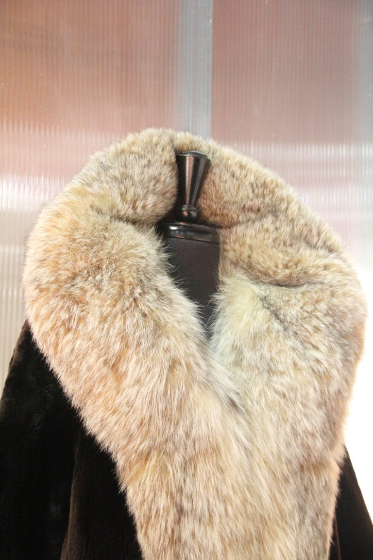 Women's 1960s Herbert's Sheared Beaver Coat with Plush Lynx Collar and Trim For Sale