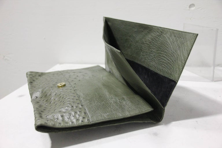Loewe Moss Green Ostrich Leather Envelope Clutch, 1970s  For Sale 1