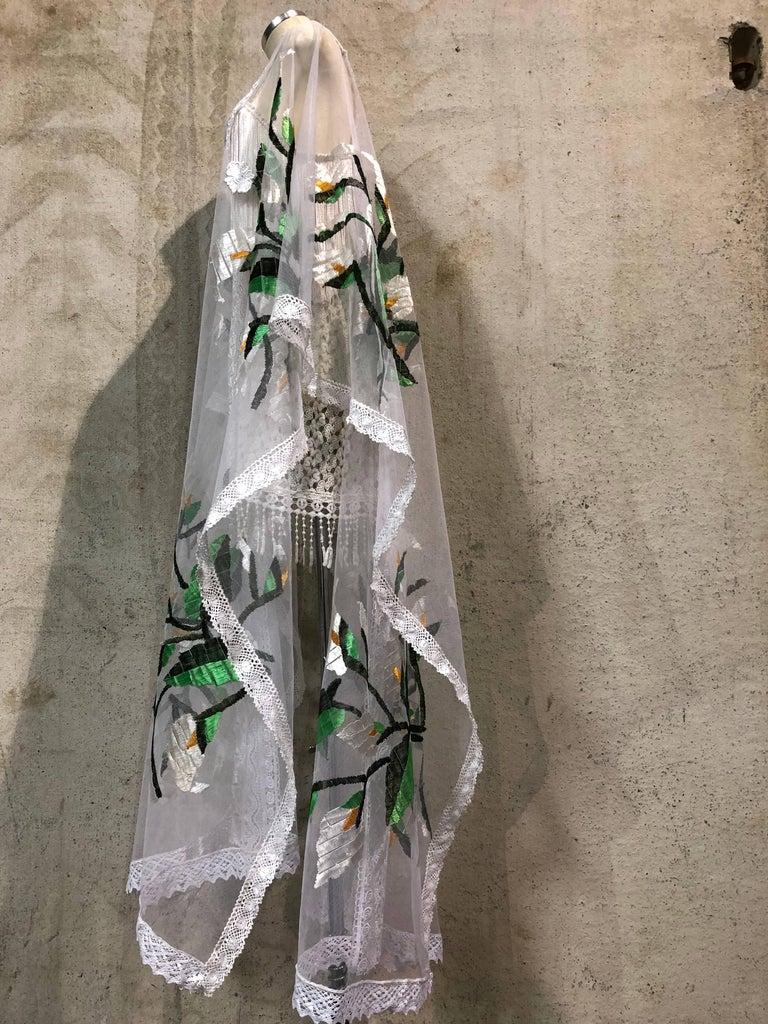 Women's Hand Embroidered White Net Kaftan W/ Machine Lace Panels & Eyelet Fringe Details For Sale