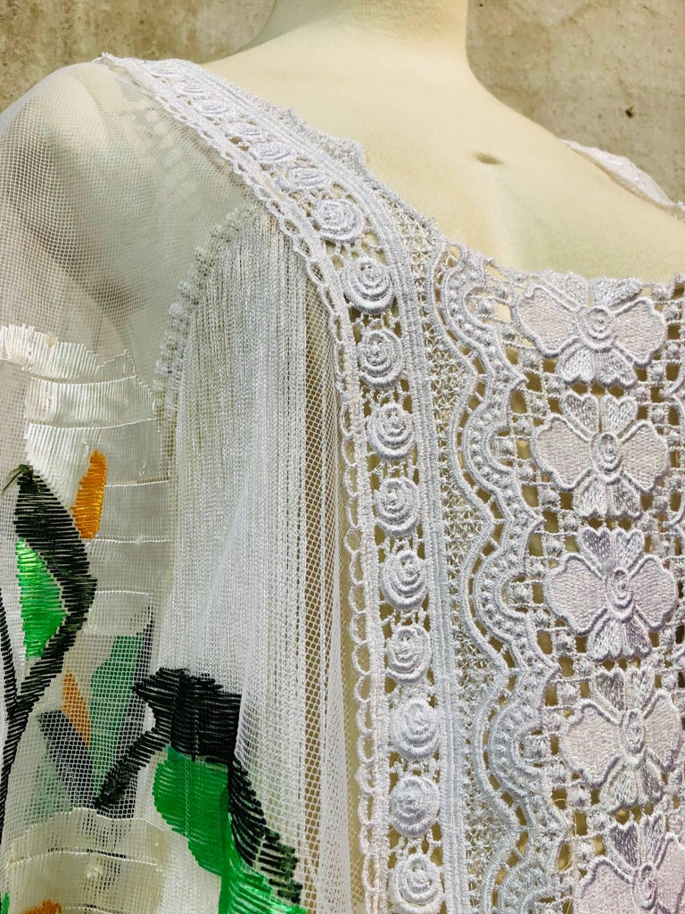 Hand Embroidered White Net Kaftan W/ Machine Lace Panels & Eyelet Fringe Details For Sale 1