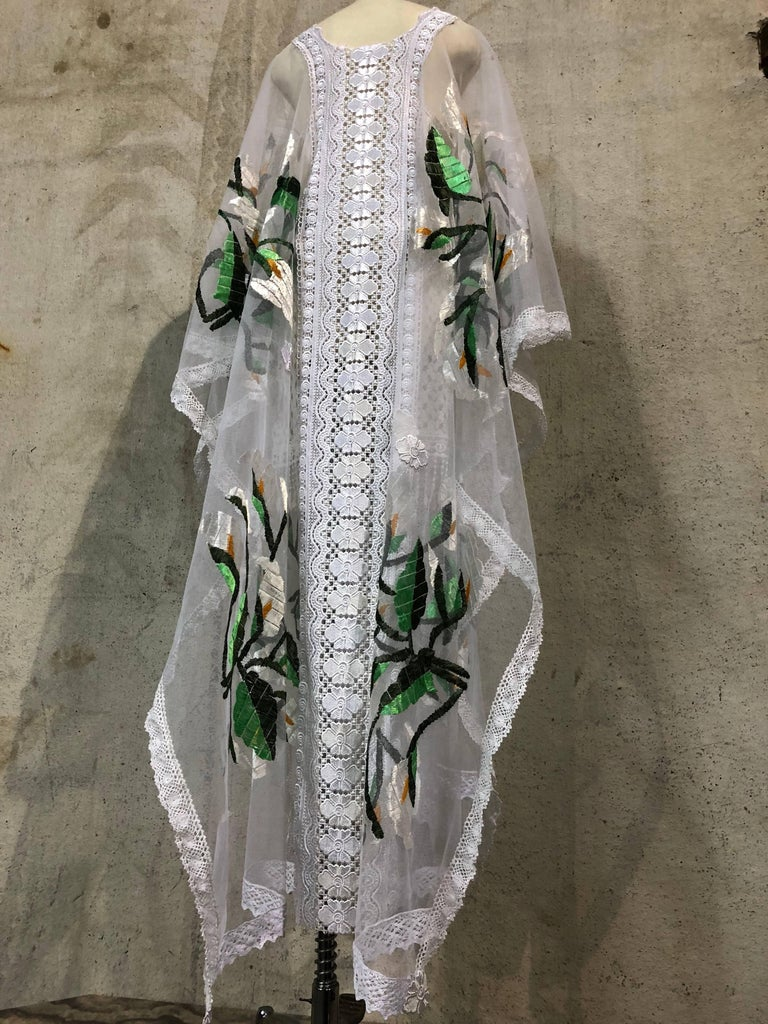 Hand Embroidered White Net Kaftan W/ Machine Lace Panels & Eyelet Fringe Details For Sale 2