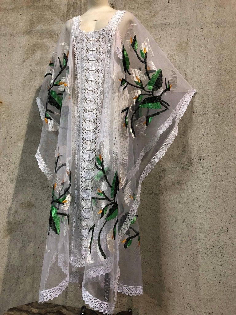 Hand Embroidered White Net Kaftan W/ Machine Lace Panels & Eyelet Fringe Details For Sale 3