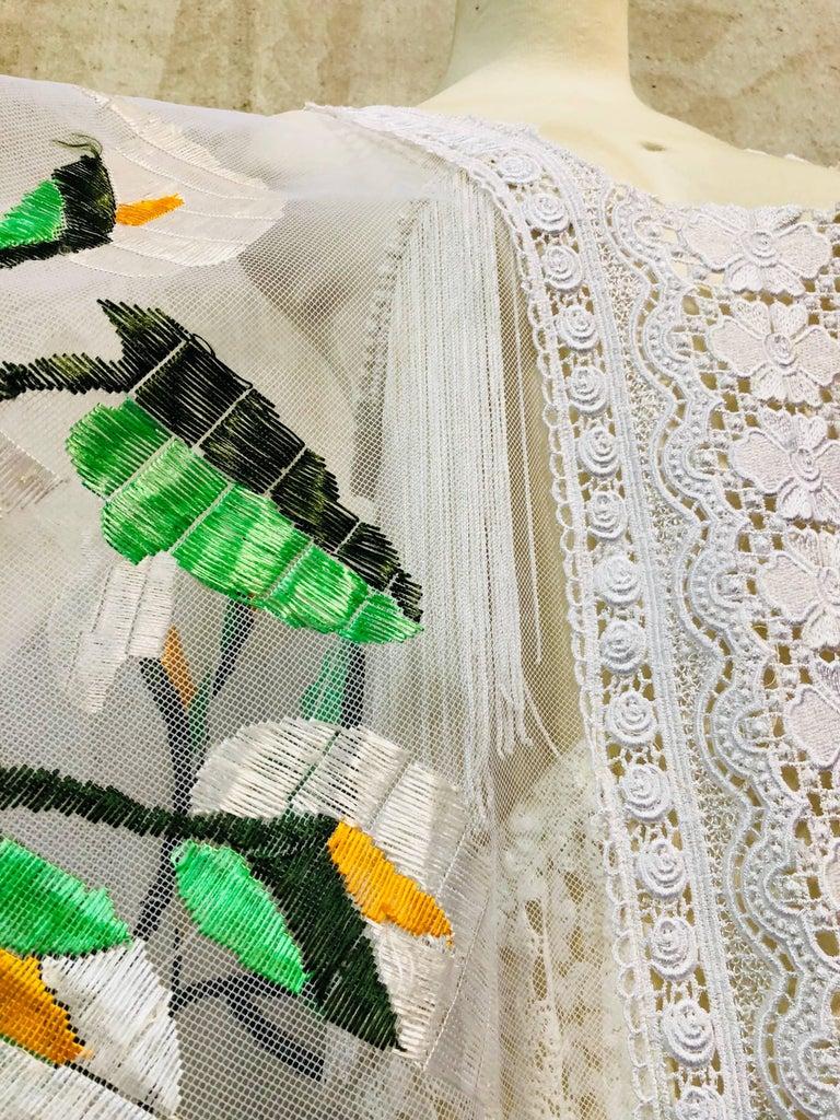 Hand Embroidered White Net Kaftan W/ Machine Lace Panels & Eyelet Fringe Details For Sale 4