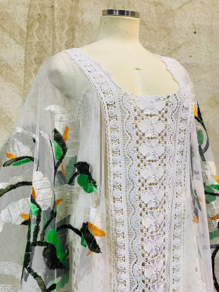 Hand Embroidered White Net Kaftan W/ Machine Lace Panels & Eyelet Fringe Details For Sale 5