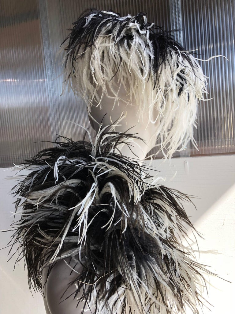 William J. Black And White Ostrich Feather Saucer Style Hat With Boa, 1950s  For Sale 1