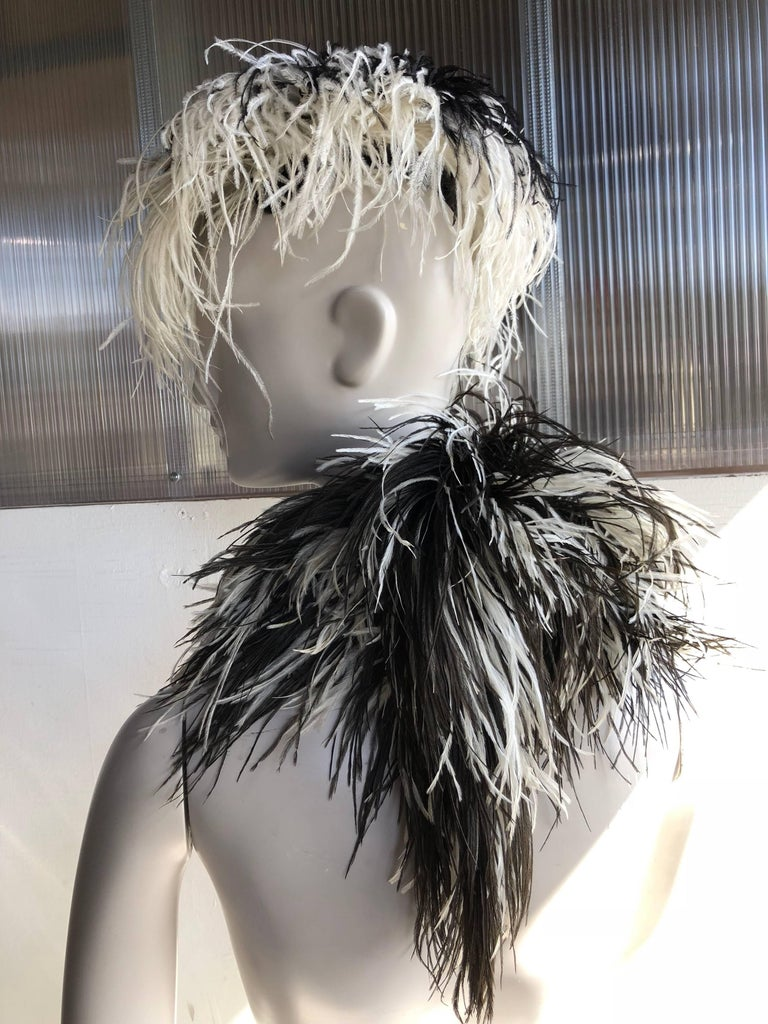 Gray William J. Black And White Ostrich Feather Saucer Style Hat With Boa, 1950s  For Sale