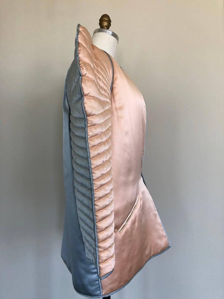 Women's or Men's 1983 Vogue Issue Fernando Sanchez Dramatic Quilted Silk Bed Jacket Ensemble For Sale