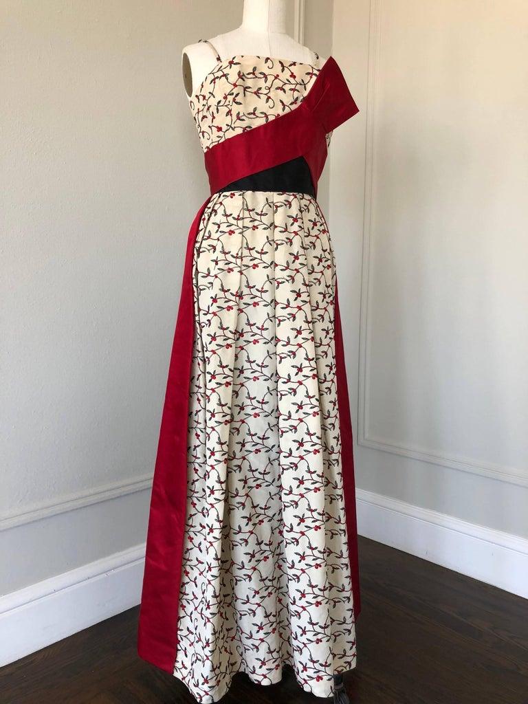 Gray 1950s Oleg Cassini Tri Colored Silk Taffeta Evening Gown W/ Red Sash Bodice For Sale