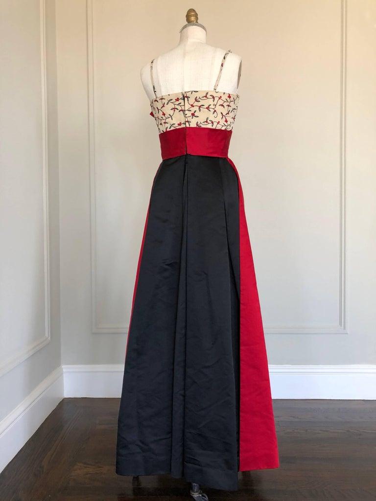 1950s Oleg Cassini Tri Colored Silk Taffeta Evening Gown W/ Red Sash Bodice For Sale 3
