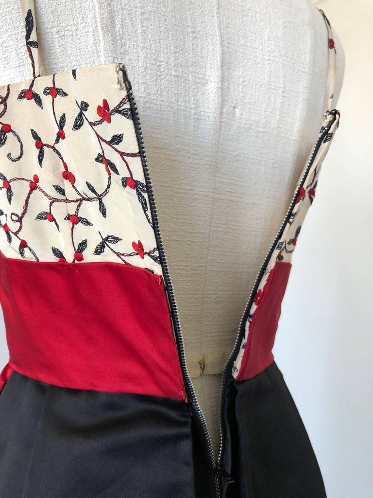 1950s Oleg Cassini Tri Colored Silk Taffeta Evening Gown W/ Red Sash Bodice For Sale 4