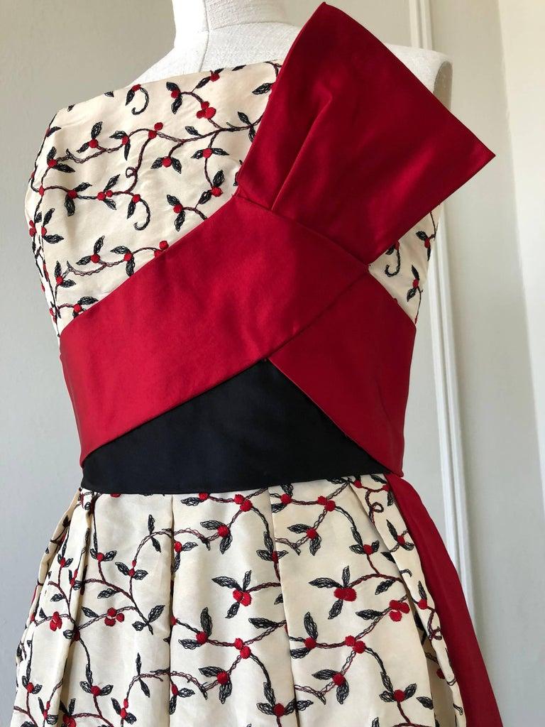 1950s Oleg Cassini Tri Colored Silk Taffeta Evening Gown W/ Red Sash Bodice For Sale 2