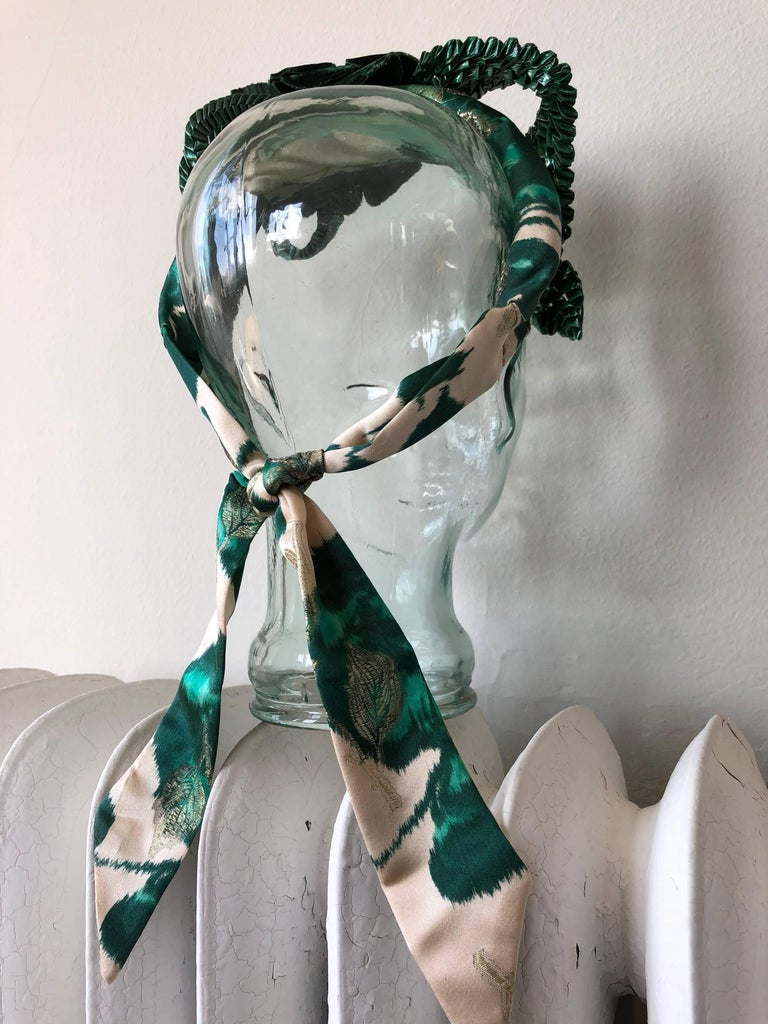 Spring Floral Hand-Made Headband w/ Green Roses and Rafia Accents  For Sale 1