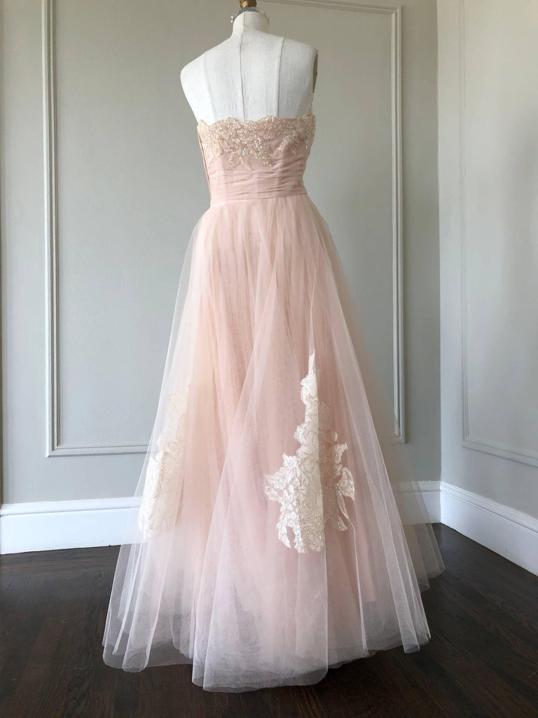 1950s Pink Champagne Tulle Party Dress W Lace And Sequin