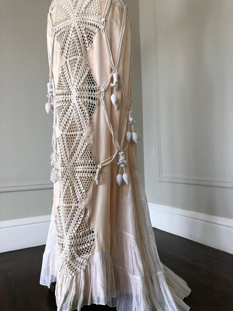 Artisanal Made Bell Epoch White Crochet And Macrame Maxi
