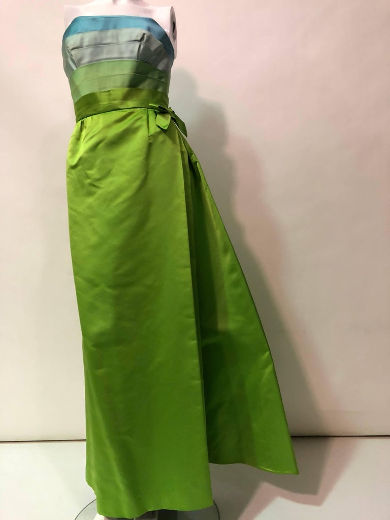 Green Philip Hulitar Satin Gown with Aqua Turquoise Chartreuse Pleated Bodice, 1950s  For Sale