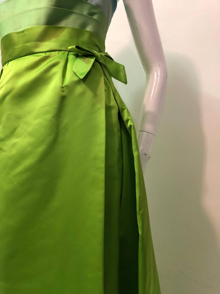 Philip Hulitar Satin Gown with Aqua Turquoise Chartreuse Pleated Bodice, 1950s  In Excellent Condition For Sale In San Francisco, CA