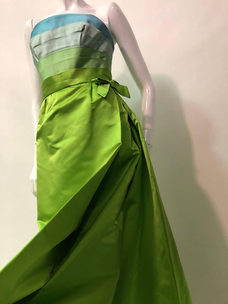 Women's Philip Hulitar Satin Gown with Aqua Turquoise Chartreuse Pleated Bodice, 1950s  For Sale