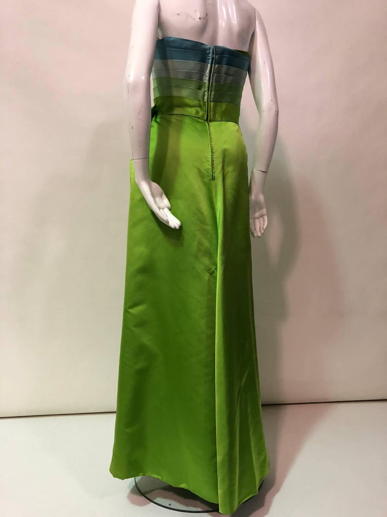Philip Hulitar Satin Gown with Aqua Turquoise Chartreuse Pleated Bodice, 1950s  For Sale 3