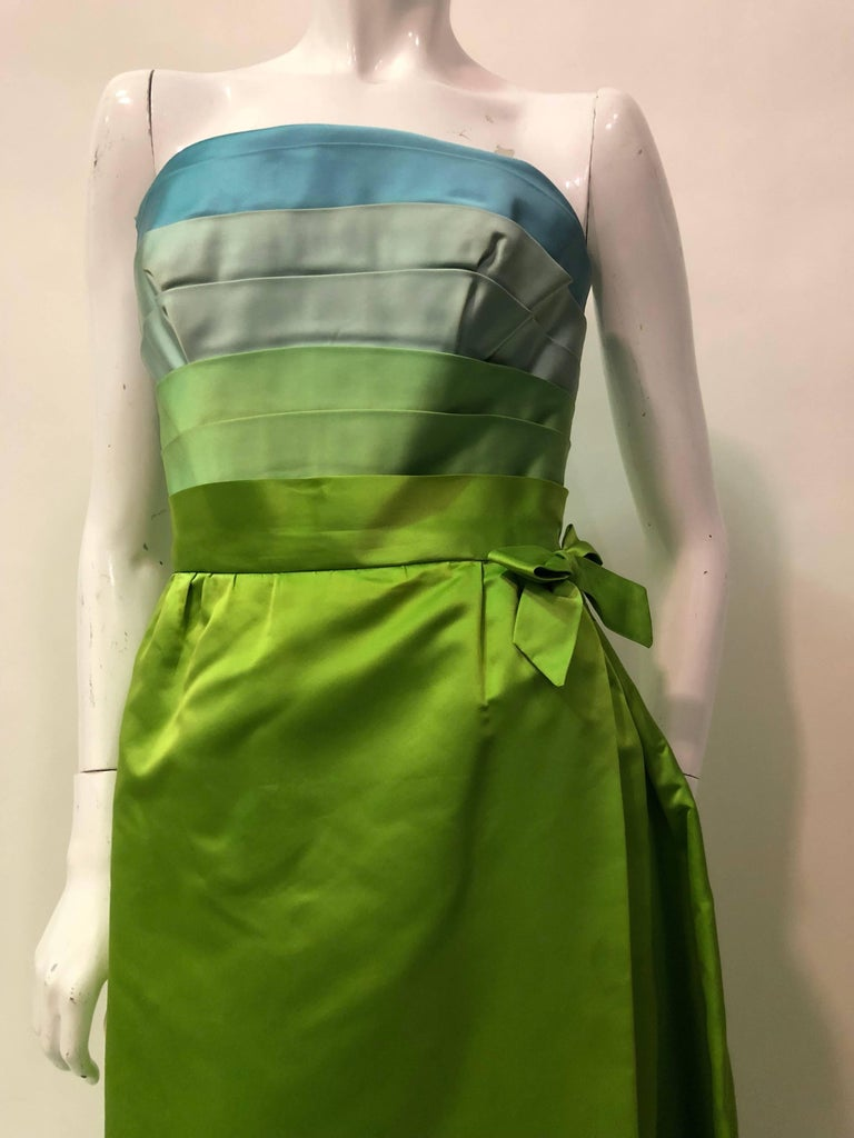 Philip Hulitar Satin Gown with Aqua Turquoise Chartreuse Pleated Bodice, 1950s  For Sale 5