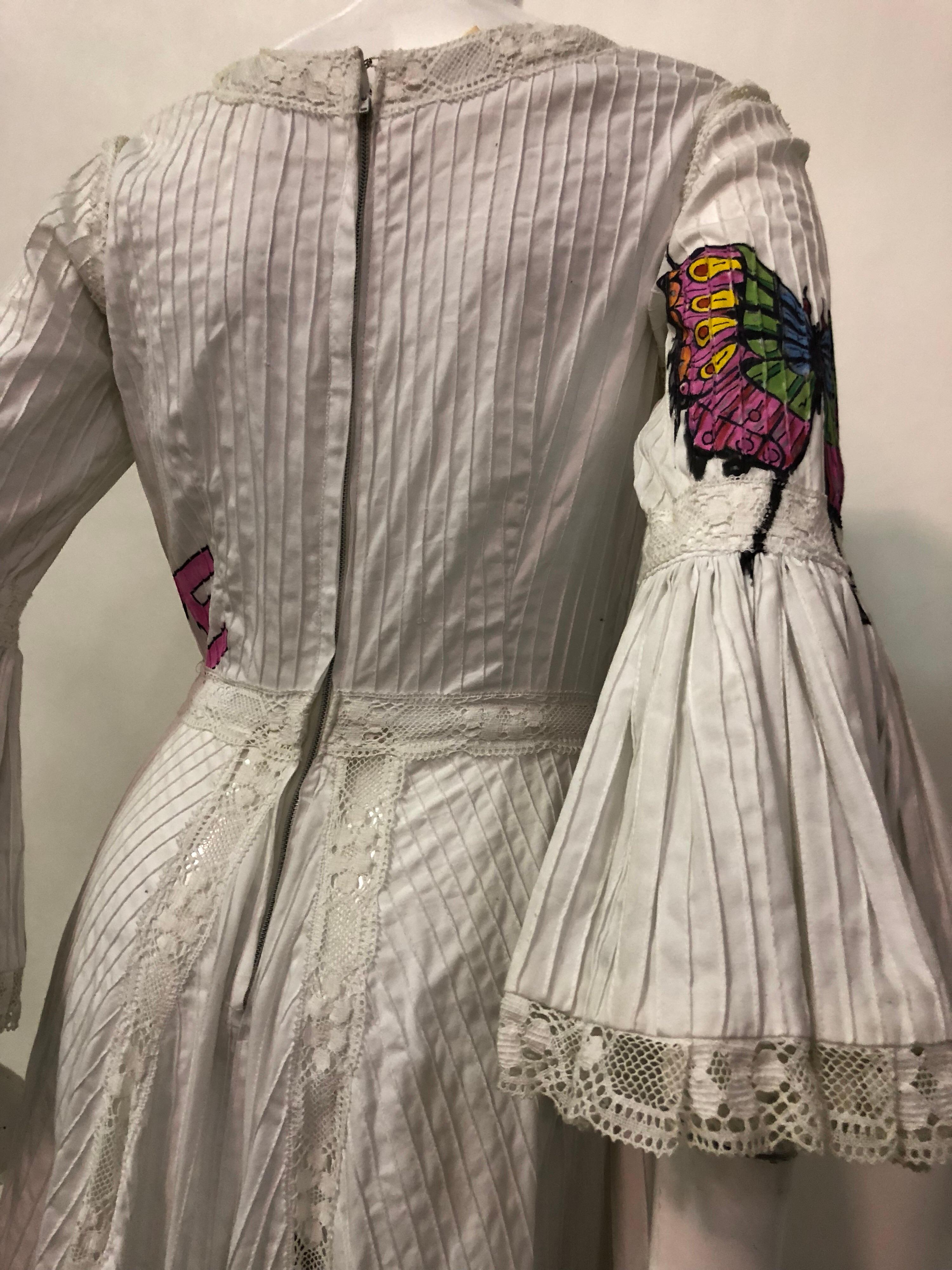 2b8b867dc3ed Mexican summer maxi dress in white cotton with hand painted butterflies in  excellent condition jpg 768x1024