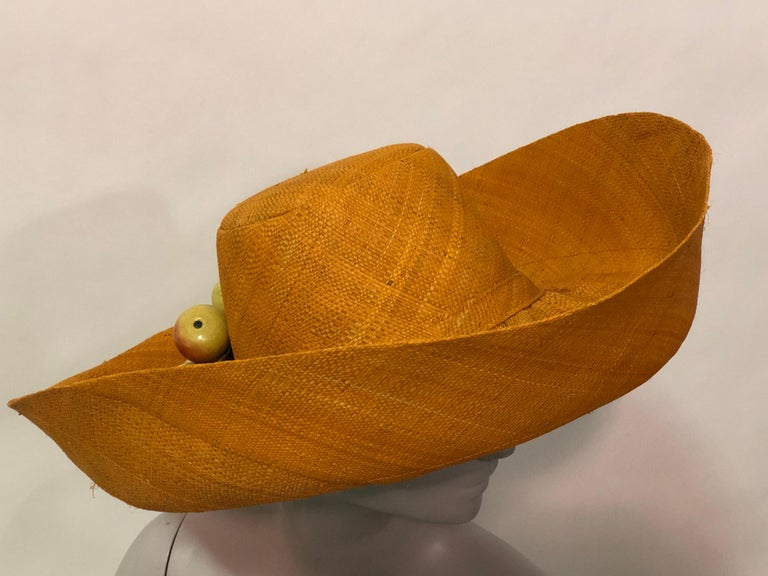 1960s Style Woven Orange Straw Hat With Dramatic Brim and Vintage Fruit Corsage  In Excellent Condition For Sale In San Francisco, CA