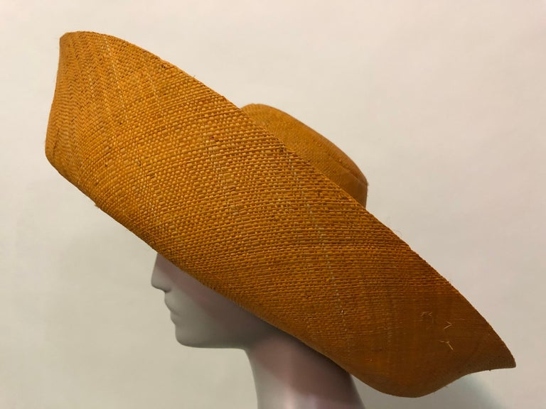 Women's 1960s Style Woven Orange Straw Hat With Dramatic Brim and Vintage Fruit Corsage  For Sale