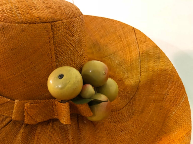 1960s Style Woven Orange Straw Hat With Dramatic Brim and Vintage Fruit Corsage  For Sale 1