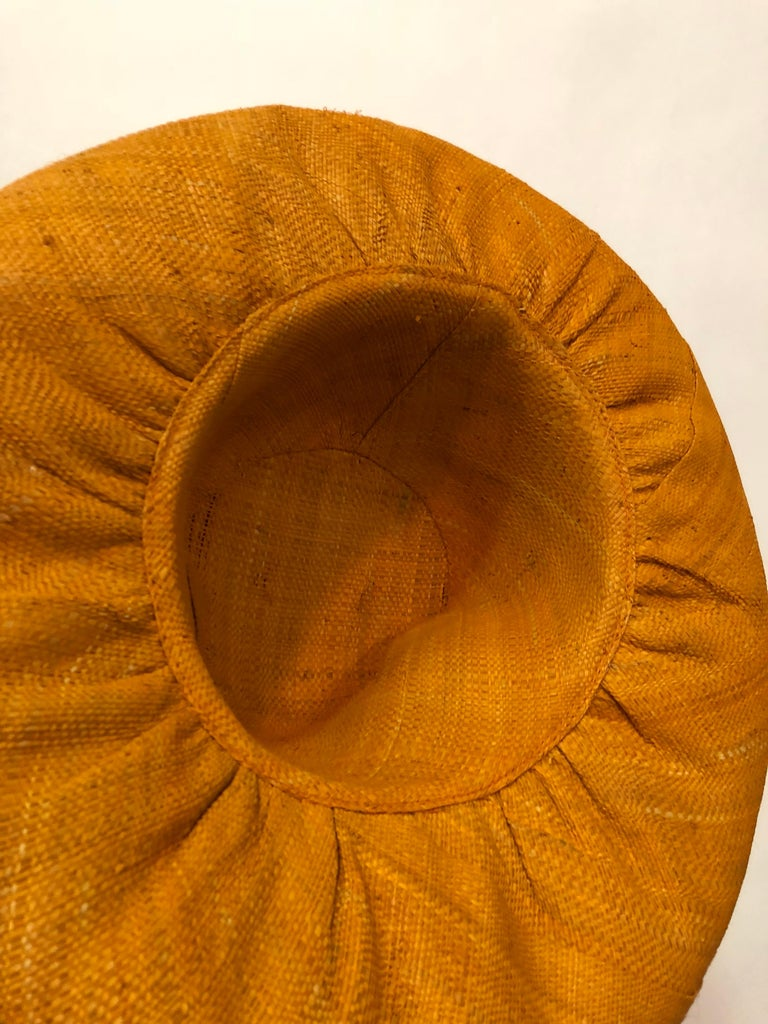 1960s Style Woven Orange Straw Hat With Dramatic Brim and Vintage Fruit Corsage  For Sale 2