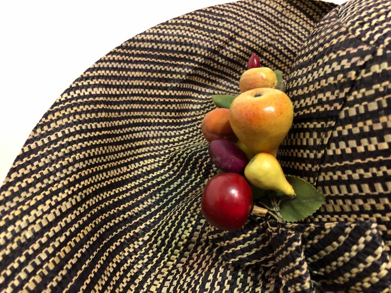 1960s Style Woven 2 Tone Straw Hat With Dramatic Brim & Vintage Fruit Corsage  In Excellent Condition For Sale In San Francisco, CA