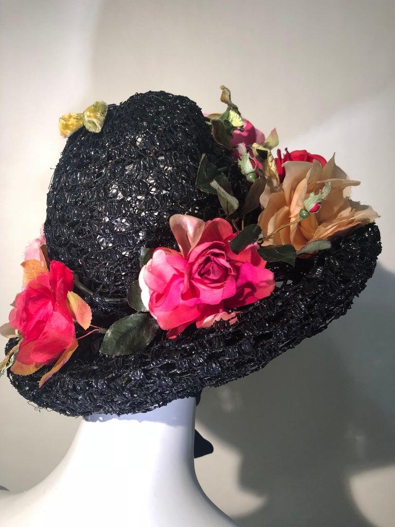 1950s Irina Roublon Silk Floral Trim Black Straw Hat W/ Velvet Ribbons For Sale 1