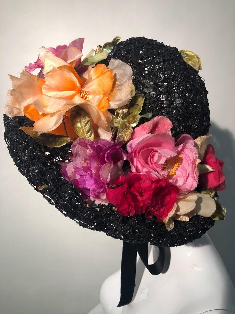 1950s Irina Roublon Silk Floral Trim Black Straw Hat W/ Velvet Ribbons For Sale 2
