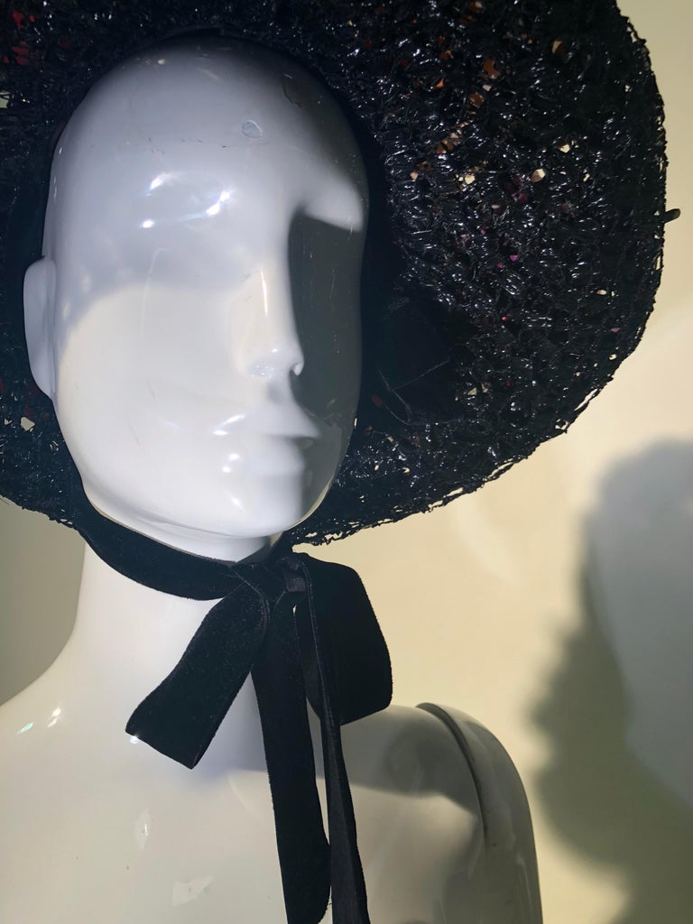 1950s Irina Roublon Silk Floral Trim Black Straw Hat W/ Velvet Ribbons For Sale 3
