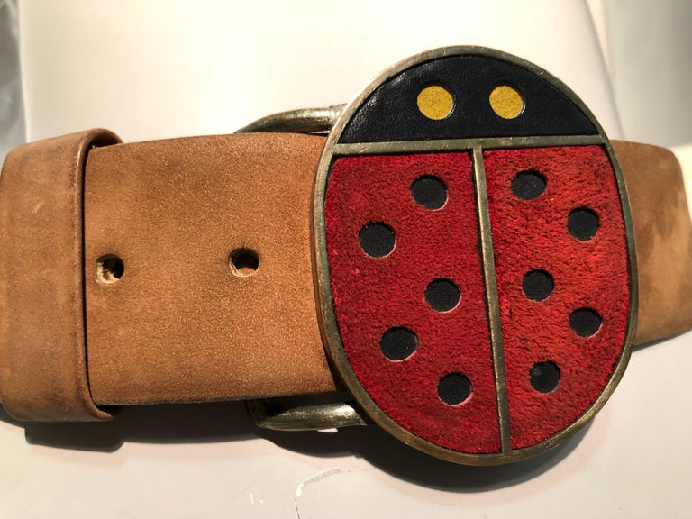 1960s Vera Ladybug Suede Belt Buckle W/ Brown Leather Belt In Excellent Condition For Sale In San Francisco, CA